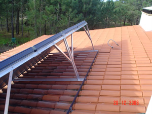 Solar collector mounted on the roof