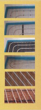Different wall and floor heating systems